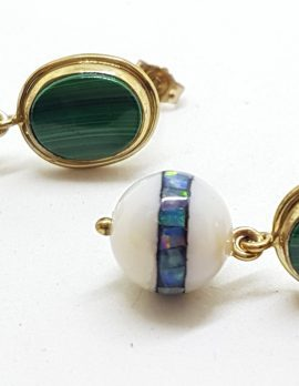 9ct Yellow Gold Malachite with Agate and Opal Inlay Handmade Ball Drop Earrings
