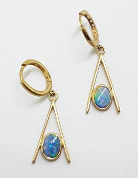 9ct Yellow Gold Opal Long Drop Earrings