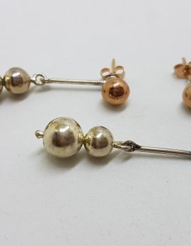 9ct Rose Gold with Sterling Silver Long Ball Drop Stud Earrings - 2 in 1