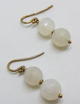 9ct Yellow Gold White Agate Ball Drop Earrings