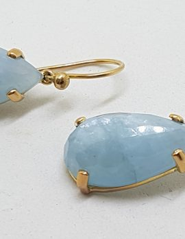 9ct Yellow Gold Teardrop Shape Aquamarine Drop Earrings