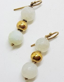 9ct Yellow Gold Agate Ball Drop Earrings