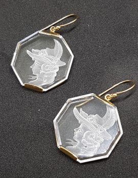 9ct Yellow Gold Carved Quartz Octagonal Large Cameo Drop Earrings