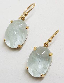 9ct Yellow Gold Oval Shape Aquamarine Drop Earrings