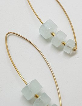 9ct Yellow Gold Long Aquamarine Drop Earrings