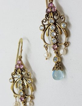 9ct Yellow Gold Ornate Topaz, Pink Tourmaline and Pearl Filigree Drop Long Earrings - Chandelier