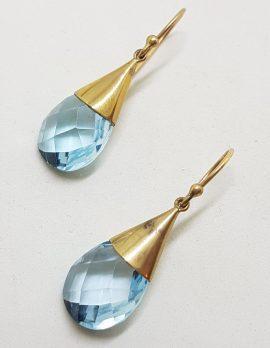 9ct Yellow Gold Teardrop Shape Cone Large Drop Earrings