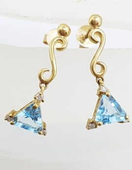 9ct Yellow Gold Triangle Blue Topaz with Diamond Drop Earrings