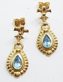9ct Yellow Gold Blue Topaz with Diamond Ornate Drop Earrings