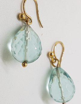 9ct Yellow Gold Large Blue Teardrop Earrings