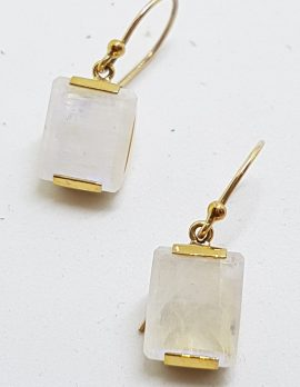 9ct Yellow Gold Rectangular Moonstone Drop Earrings