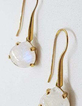 9ct Yellow Gold Long Teardrop Claw Set Moonstone Drop Earrings