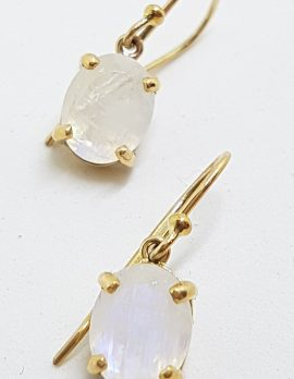 9ct Yellow Gold Oval Claw Set Moonstone Drop Earrings