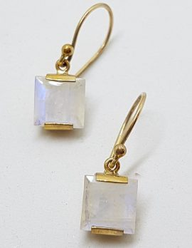 9ct Yellow Gold Square Moonstone Drop Earrings