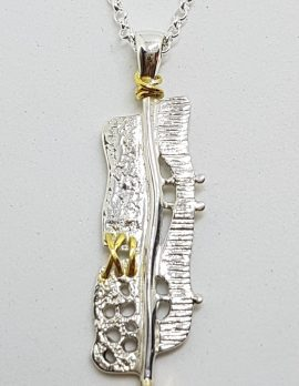 Sterling Silver & Gold Plate Citrine Pendant on Sterling Silver Chain