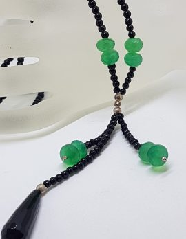 Sterling Silver Green and Black Onyx / Agate Tassel Bead Necklace