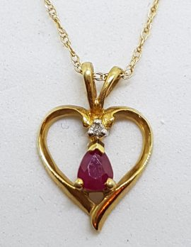9ct Yellow Gold Natural Ruby & Diamond Heart Pendant on Gold Chain