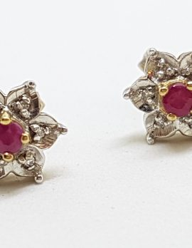 9ct Yellow Gold Natural Ruby & Diamond Flower Daisy Stud Earrings
