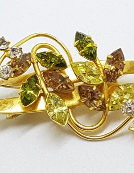 Gold Plated Jewelcrest Leaf Design Rhinestone Brooch - Brown. Clear, Green and Yellow