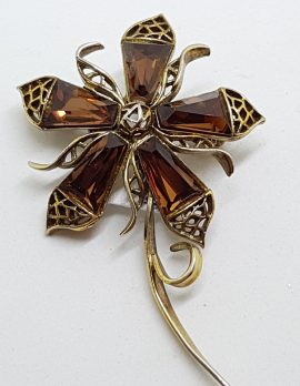 Gold Plated Large Flower Brooch - Brown.