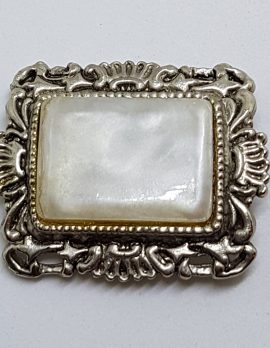 Silver Plated Large Rectangular Ornate White Brooch