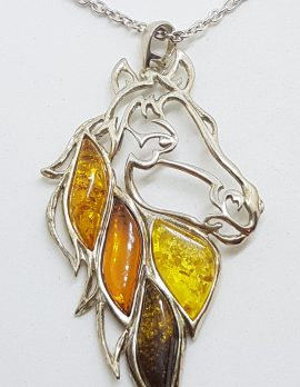 Sterling Silver Large Multicolour Amber Horse Pendant on Chain