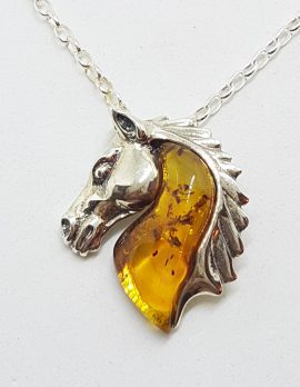 Sterling Silver Baltic Amber Horse Head Pendant on Chain
