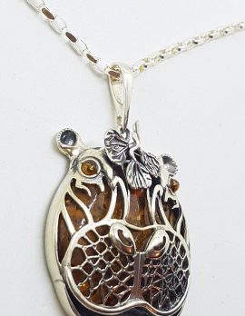 Sterling Silver Baltic Amber Large Hippo Pendant on Chain