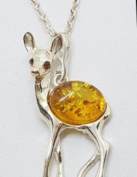 Sterling Silver Amber Deer Pendant on Silver Chain