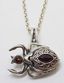 Sterling Silver Baltic Amber Spider Pillbox / Locket Pendant on Silver Chain
