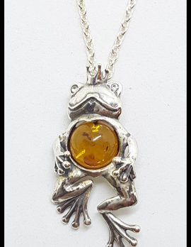 Sterling Silver Baltic Amber and CZ Frog Prince Pendant on Silver Chain