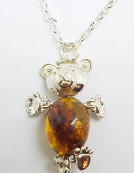 Sterling Silver Baltic Amber Teddy Bear Jointed Pendant on Silver Chain