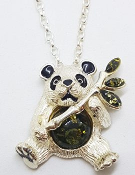 Sterling Silver Amber Panda Pendants on Sterling Silver Chain