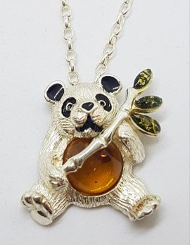 Sterling Silver Brown & Green Baltic Amber Panda with Bamboo Pendant on Silver Chain