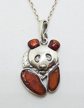 Sterling Silver Baltic Amber Panda Bear Pendant on Silver Chain