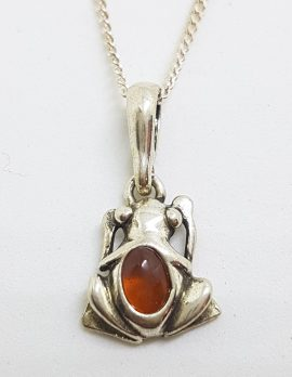 Sterling Silver Amber Small Frog Pendant on Silver Chain