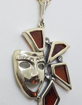 Sterling Silver Baltic Amber Carnival Mask Pendant on Silver Chain
