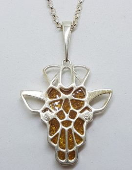 Sterling Silver Natural Amber Giraffe Head Pendant on Silver Chain