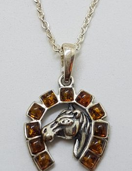 Sterling Silver Baltic Amber Horse Head in Horseshoe Pendant on Silver Chain