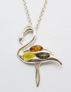 Sterling Silver Multi-Colour Baltic Amber Flamingo Pendant on Chain