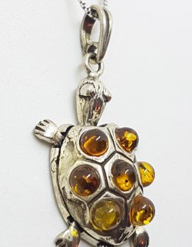 Sterling Silver Baltic Amber Turtle Pendant on Chain