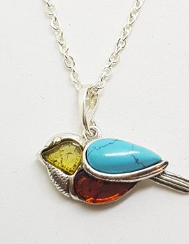 Sterling Silver Multi-Colour Baltic Amber & Recon. Turquoise Pendant on Chain