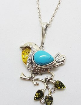 Sterling Silver Multi-Colour Baltic Amber & Recon. Turquoise Bird on Branch Pendant on Chain