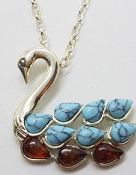 Sterling Silver Baltic Amber & Recon. Turquoise Swan Bird Pendant on Chain