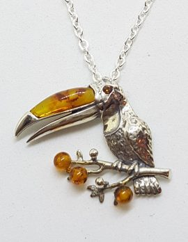Sterling Silver and Amber Toucan Pendant on Silver Chain - Available in Two Sizes - Small