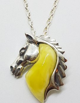 Sterling Silver Baltic Butter Amber Horse Head Pendant on Chain