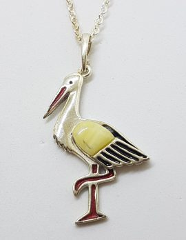 Sterling Silver Baltic Butter Amber Stork Bird Pendant on Silver Chain