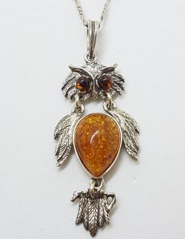Sterling Silver Baltic Amber Owl Pendant on Silver Chain