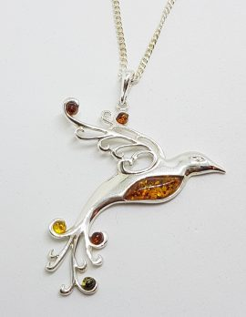 Sterling Silver Natural Multi-Colour Baltic Amber Large Bird Pendant on Chain