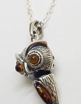 Sterling Silver Natural Baltic Amber Jointed Owl Bird Pendant on Silver Chain